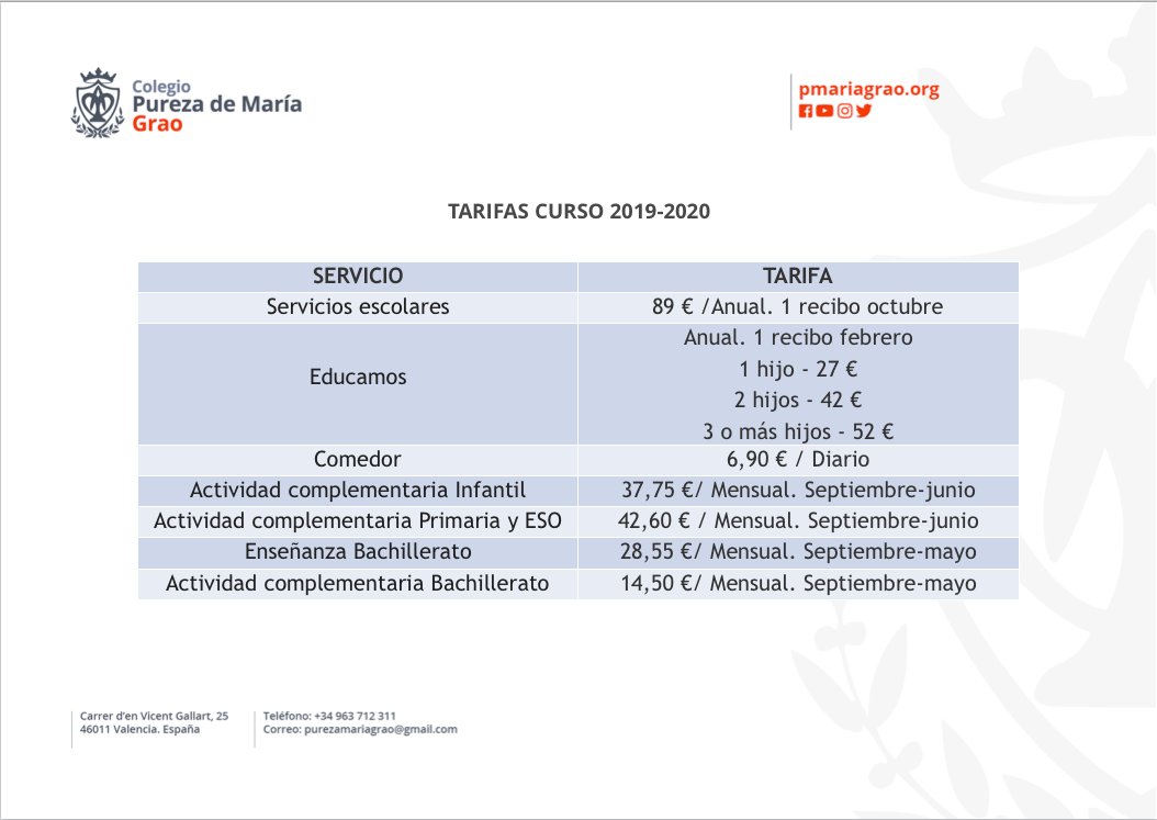 Texto de los precios del colegio concertado Pureza de María Grao de Valencia